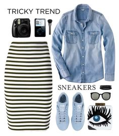 """""""Tricky trend: pencil skirt and sneakers"""" by elly3 ❤ liked on Polyvore featuring A.L.C., J.Crew, adidas, Karen Walker, Spring Street, Gucci, pencilskirt, contestentry, polyvoreeditorial and polyvorecontest"""