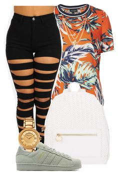 """"""" boomerang love should have your a.s$ home"""" by mindlesspolyvore ❤ liked on Polyvore featuring Topshop, Ettika, Deux Lux, Versace and adidas Originals"""
