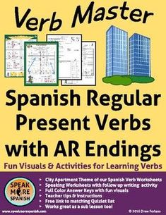 Spanish Verb Master for Regular AR Verbs. by Speak More Spanish High School Spanish, Spanish Teacher, Teaching Spanish, Spanish Lesson Plans, Spanish Lessons, Spanish Verb Conjugation, Verb Chart, How To Speak Spanish, Learn Spanish