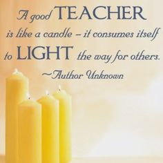 Teacher appreciation lantern label: a good teacher is like a candle