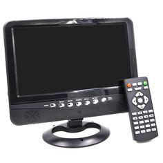"""Portable 9"""" LCD TV Player w / FM / carte SD / USB / chargeur de voiture - Black + Silver (640 x 234)"""