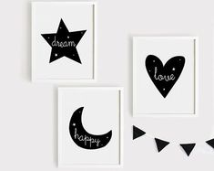 Dream star, Happy moon, Love Heart Nursery Art Set of 3 Poster Baby Child Kids room Quotes Wall Deco Art Wall Kids, Nursery Wall Art, Dream Catcher Drawing, Wall Decor Quotes, Black And White Wall Art, Drawing For Kids, Computer, As You Like, Love Heart