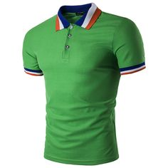 Knit-ribbed Striped Contrast Collar Polo Shirt (Green) - intl d16988930bf