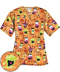 UA Monster Mash Black Print Scrub Top