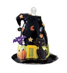 """Something spooky is brewing! A spinning ghost haunts our porcelain witch's hat. Heat from a tealight, sold separately, sets the ghost in motion.  7"""" h, 7"""" w.   On Sale $12.00"""
