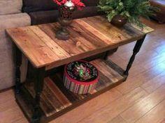 DIY COFFEE TABLE OR WITH LONGER LEGS A SOFA TABLE....I AM SOFA THAT IDEA....:)