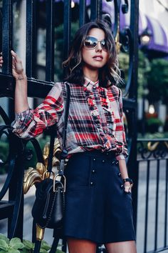 What about a plain plaid shirt with a a less detailed skirt?