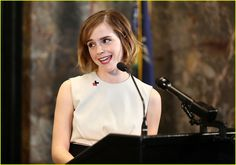 Emma Watson Praises Films That Challenge 'Rigid Definitions' of Masculinity: Photo #3600460. Emma Watson speaks at the lighting of the Empire State Building in