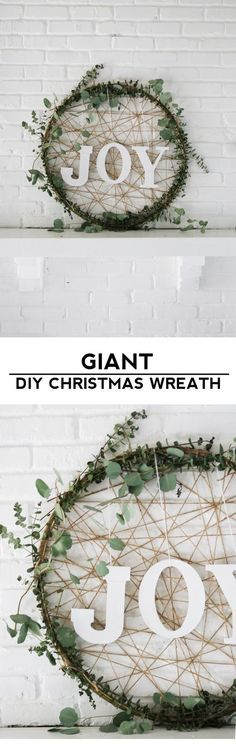 Make a giant Christmas wreath out of a hula hoop and eucalyptus for some rustic and modern holiday decor!