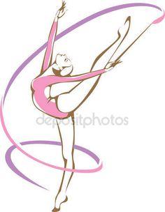 Скачать - Гимнастка с лентой — стоковая иллюстрация #81368716