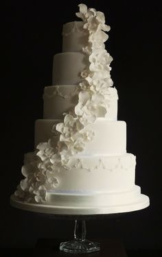 This is pretty much my dream wedding cake, except that I'm old fashioned and need color, so the flowers would have to be blue.