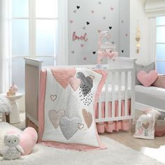 Lambs & Ivy Heart To Heart Crib Bedding Set In Pink/white Baby Crib Bedding Sets, Crib Sets, Baby Cribs, Nursery Room, Girl Nursery, Baby Room, Nursery Ideas, Disney Nursery, Nursery Bedding