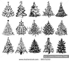 Set of Dreawn Christmas Trees. 15 designs in one file. To see similar sets visit my gallery by Anastacia Zalevska, via ShutterStock. Perfect for cards, decorating packages, or other craft items you may think of