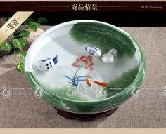 Un acheté cinq Jingdezhen Céramiques de grande taille � la tortue de cylindre autour de la bouche de lotus Lotus or Nelumbo nucifera aquarium d'eau peu profonde
