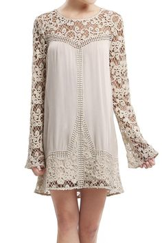 Crochet Woven Dress with Long Sleeves