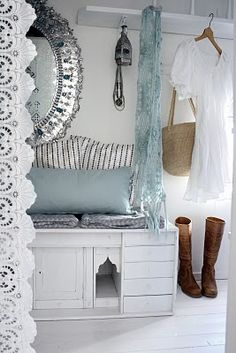 White dress, boots and scarf for spring. And love the mirror and lace!
