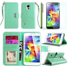 Galaxy S5 Case, ULAK Samsung Galaxy S5 Case, Premium Flip Folio Wallet PU Leather Stand Case for Samsung Galaxy S5 / Galaxy SV / Galaxy S V (2014) with Card Slots and Screen Protector + Stylus (Mint):Amazon:Cell Phones & Accessories