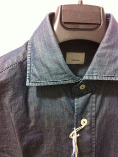 NWT$350 Caliban Italian luxury beautiful Sartorial Denim shirt,15.75/40, M/50  #caliban #ButtonFront