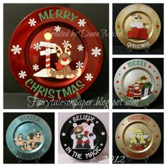Altered charger plates I made for Christmas I used paper piece files by Little Scraps of Heaven Designs. by leanne Christmas Vinyl, Christmas Plates, Christmas Projects, Holiday Crafts, Christmas Crafts, Christmas Ornaments, Santa Plates, Christmas Ideas, Diy Ornaments