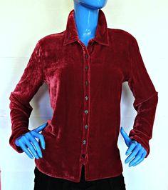 J Jill Burgundy Red Silk Blend Velvet Blouse Shirt Top S 4 6 8 Button Down Women #JJill #ButtonDownShirt #Casual