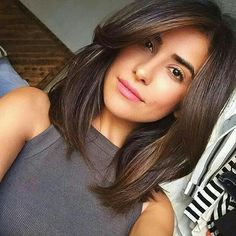 Brown medium hair cut