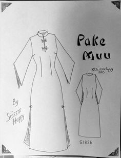Sewing pattern for vintage Pake Muu dress   Fly away bat sleeves,  slits, mandarin collar in your favorite rayon by Scissorhappyvintage on Etsy
