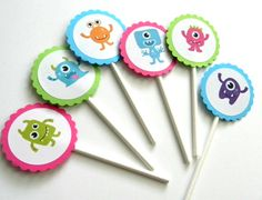 12 Monster Cupcake Toppers, Girl Monsters, Monster Theme, First Birthday, Baby Shower, Monster Bash, Monster Toppers, Pink Monsters by thepartypenguin on Etsy