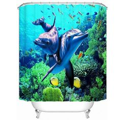 Hot!! 3D WaterProof Lifelike Sea Scenery Bathroom Curtain High Quality Anti-mildew Polyester Shower Room Curtains Size 180*180cm