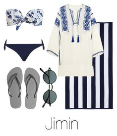 """""""Beach Day with Jimin"""" by btsoutfits ❤ liked on Polyvore featuring DwellStudio, Zimmermann, Étoile Isabel Marant and Havaianas"""