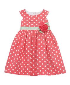 This Coral Polka Dot Yoke Dress - Infant by Rare Editions is perfect! #zulilyfinds