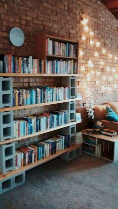 63 Inspiring DIY Cinder Block Home Decor Ideas ideas onabudget Diy Bookshelf Design, Bookshelf Ideas, Homemade Bookshelves, Homemade Shelves, Bookcase, Cinder Block Shelves, Cinder Blocks, Cinder Block Furniture, Home Decor Bedroom