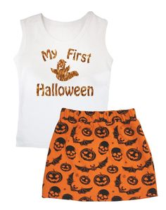Petitebella Bling My First Halloween White Vest Skull Bat Orange Skirt Set 1-8y (1-3 Years). product includes: a vest, a skirt. made by lightweight material. stretchy and comfortable cotton vest. adjustable waistband. skirt in my first halloween design.