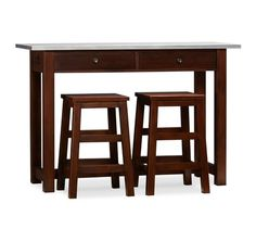 Balboa Wood & Stainless Steel Counter-Height Table & Stools, Espresso stain - Kitchen and Dining Furniture - Pottery Barn Free Standing Breakfast Bar, Breakfast Bar Table, Breakfast Bars, Counter Height Table Sets, Pub Table Sets, Bar Tables, Dining Tables, Dining Room, Kitchen Tables