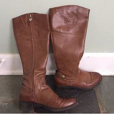 Etienne Aigner Iconic Riding Boots Like new. These high-quality brown leather Etienne Aigner riding boots are so beautiful. They have almost no wear and only one tiny discoloration on the leather. The picture was taken very close to show the place but it is not noticeable at all! They have a zipper closure with an extra soft, cozy interior. Super comfy! I'm only selling these adorable boots because they are too small for me. These are size 7.5 and I need an 8. Otherwise I'd not sell these…