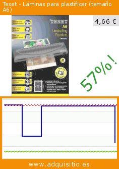 Texet - Láminas para plastificar (tamaño A6) (Productos de oficina). Baja 57%! Precio actual 4,66 €, el precio anterior fue de 10,91 €. https://www.adquisitio.es/texet/l%C3%A1minas-plastificar