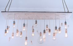 Reclaimed barn wood lighting with quartz crystals