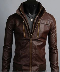 Men's Leather Jackets Korea Style Casual Slim vertical zippers