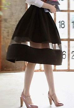 Women's Mesh Stitching Sheer Midi Skirt