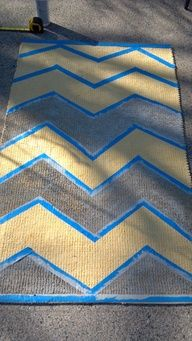 diy yellow & gray chevron rug - if a real one is to $$$ - lol