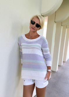 Knitting Cardigan Pattern Drops Design 21 Ideas For 2019 Easy Sweater Knitting Patterns, Knit Cardigan Pattern, Knitting Designs, Gilet Crochet, Crochet Blouse, Summer Knitting, Crochet Summer, Summer Sweaters, Striped Knit