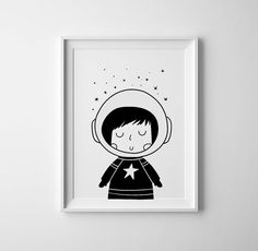 Little astronaut girl, black and white, scandinavian nursery decor, space and universe, girls room printable, nursery art, space and galaxy