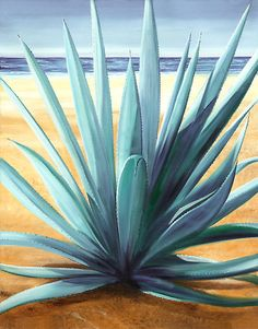 'Agave en la Playa - oil painting of cactus on a Mexican beach' by James Knowles Cactus Painting, Plant Painting, Cactus Art, Watercolor Scenery, Cactus Pictures, Beach Mural, Agave Plant, Southwest Art, Agaves