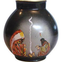 """French Paris 9"""" Porcelain Vase American Indians Southwest Décor Artist Painted by E. Margerie for Bastard c 1925"""