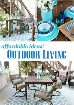 Outdoor living - Beautiful aqua and navy melamine serve ware - Outdoor Patio Refresh - Spring is here and so is entertaining season. We love spending time outside- spring and summer #bhglivebetter #spon #bhg @BHG Live Better @Better Homes and Gardens