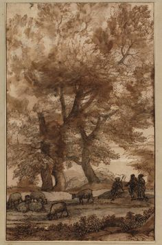 Claude Lorrain, Pastoral landscape with tall trees, c. 1640.