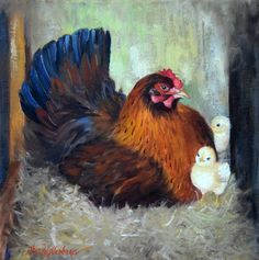 Animal Oil Painting, Mama Red Hen And Her Chicks, 12x12 Canvas Original Painting by Cheri Wollenberg