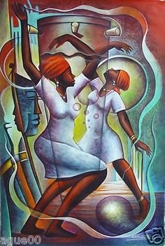 "DANCERS ORIGINAL PAINTING HAITIAN ART ADDMASTER 24""X36"" ETHNIC NAIF PRIMITIVE"