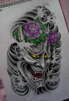 Hannya mask with two perfect peony's in purple. I need this on my left forearm