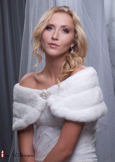 Custom bridal faux fur shaw shrug 8 wide Formal by sewudesigns, $52.50