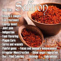 Uses of Saffron - ancient aphrodisiac, fever cure, home remedy for all manner of ailments, incense and perfume, food coloring , dye...